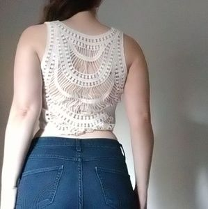 Cropped Back design White Tank Top